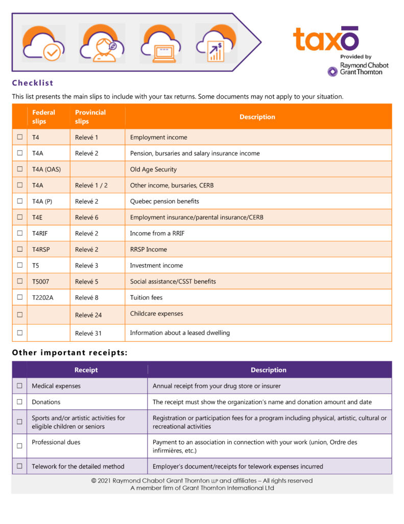 Checklist - Tax returns   Impo